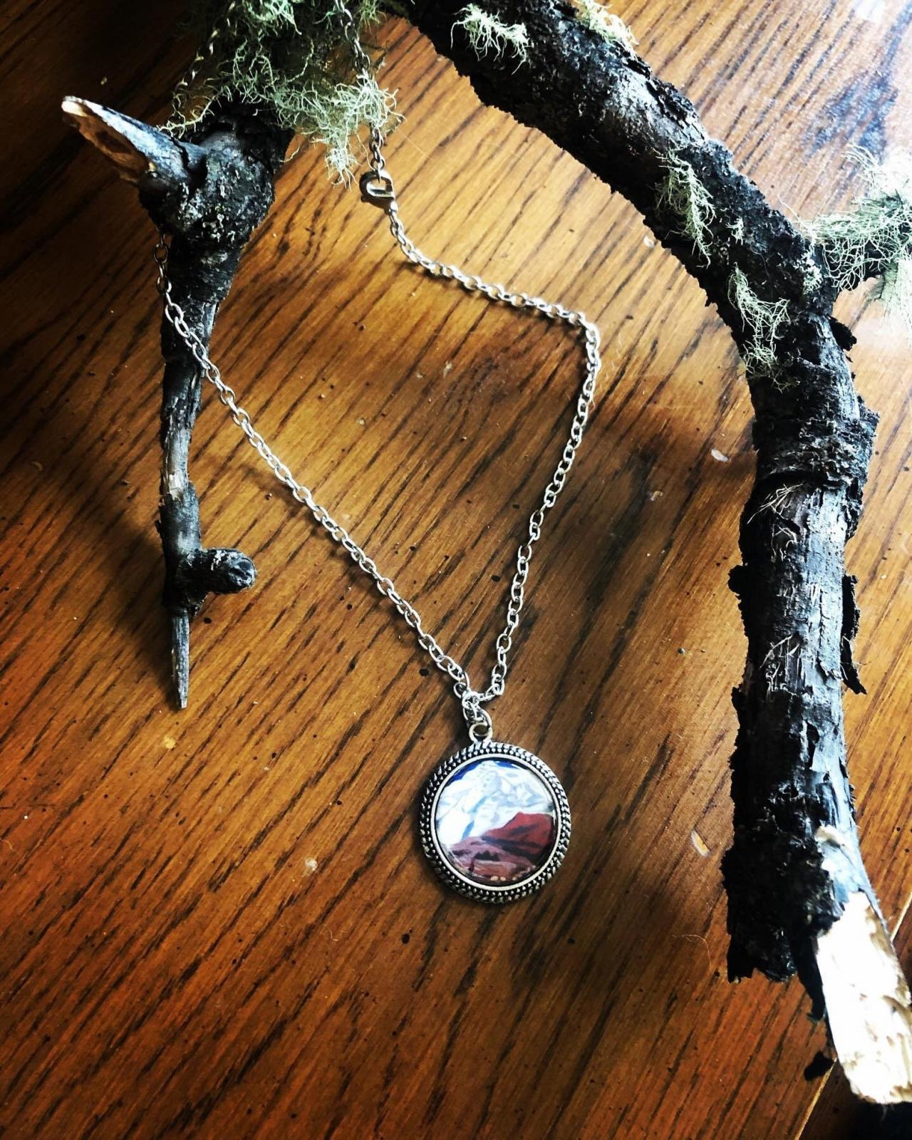 Mount Everest Inspired Mountain Circle , Wanderlust Necklace, The Mountains Are Calling, Mountain Jewelry, Mountain Pendant, Mountain Charm,