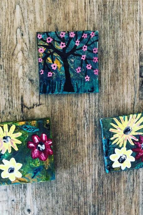 Bright Resin Hand painted Magnets