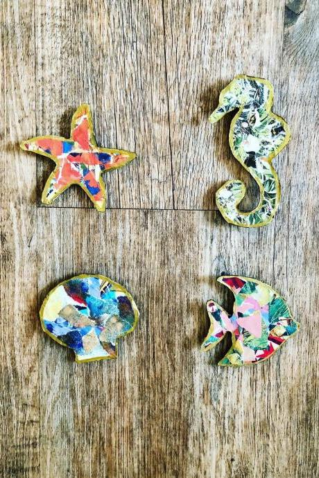 Set of 4 Sea Life Collage Magnets- ocean Magnets
