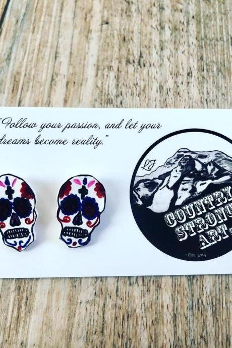 Mexican Sugar Skull Earrings, day of the dead studs, halloween studs- halloween jewlery, skull studs