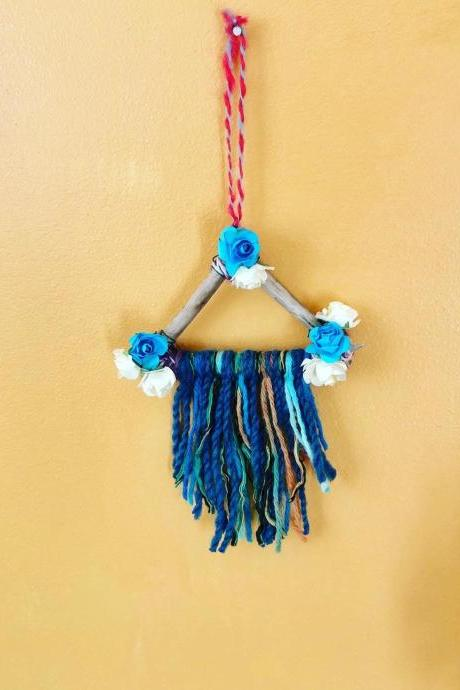 Mini Blue floral Dreamcatcher driftwood car hanger, home decor Wall Hanging / Driftwood Wall Decor / Bohemian Wall Art / Nursery Decor