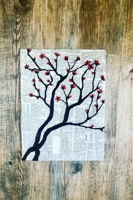 Original Blossom Painting on Newspaper Japanese Cherry Blossom Painting ,Blossoms painting, Floral Painting, Cherry blossom painting,