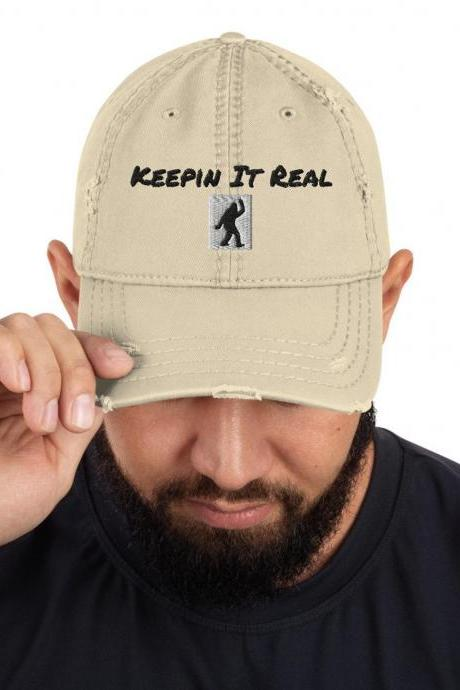 Sasquatch funny Distressed Cap, dad hat, cryptozoology, Bigfoot, cool hat.