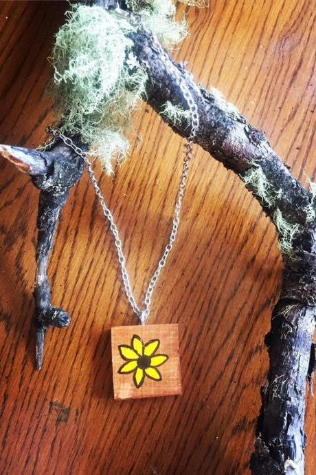 Minimalist Floral Necklace • Sunflower Rustic Necklace, sunflower Necklace- yellow glower, wood pendant