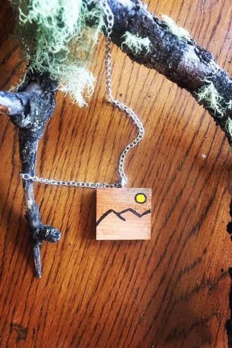 painted Mountain Wood Necklace Wanderlust Necklace, The Mountains Are Calling, Mountain Jewelry, Mountain Pendant, Mountain Charm,