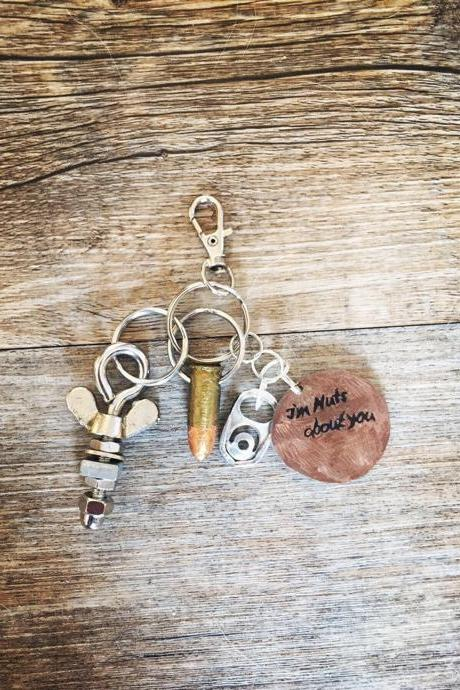 I'm Nuts About You Keychain for Men with Nut Dangle Charm | Gift for Him, Valentine's Day, Anniversary, Birthday, Hand Stamped, Personalized