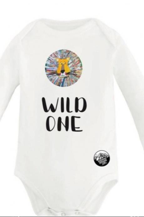 "Wild One"" Lion printed Baby Onsie Lion king print baby onsie Funny Baby Onesies®, Baby Shower Gift, Funny Baby Bodysuit"