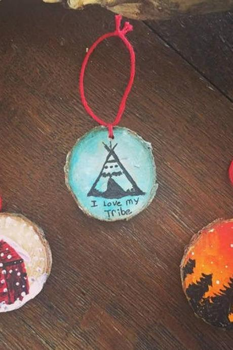 Set of 3 Handpainted My tribe/barn/tree/sunset pine Ornaments