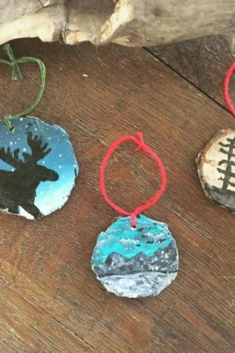 1 Moose/Pine/ Mountain Pine hand painted Ornament