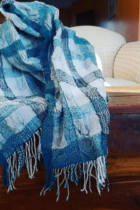 Winter Sky Silk and Merino wool Handwoven Scarf