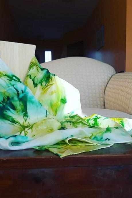 Spring Has Sprung Hand Dyed Silk Scarf