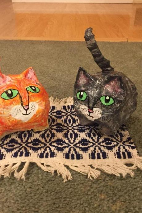 Paper Mache Handpainted Tabbies Cat dad. Cat sculpture. Cat meme. Fat cat. Cat lover gift.Funny cat