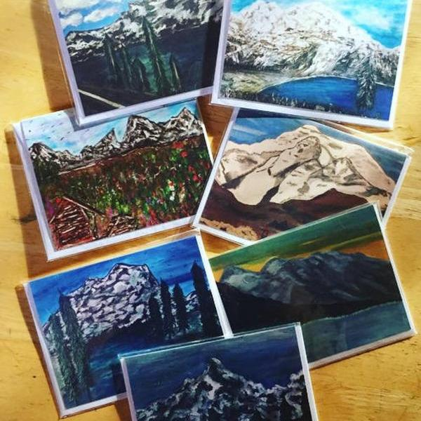 Mountain Inspired Card Set of 7 Love Card, adventure card, travel card, mountain card, love quote, A6, Blank inside